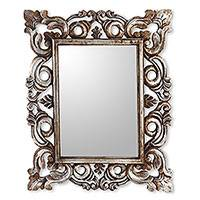 Wood wall mirror, 'Gada' - Fair Trade Wooden Wall Mirror in Antiqued Silver Finish