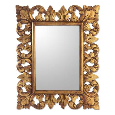 Antiqued Gold Finish Wood Wall Mirror from Bali