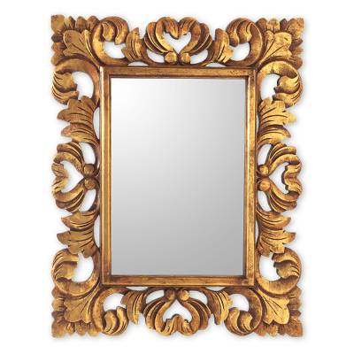 Artisan Crafted Rectangular Wood Wall Mirror in Antique Gold