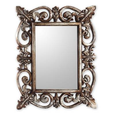 Georgian Style Carved Wood Wall Mirror with Silver Finish
