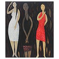'Three Ladies at Night' (2014) - Expressionist Acrylic Painting of Three Women at Night