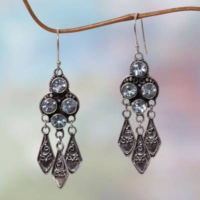 Blue topaz dangle earrings, Edwardian Grace
