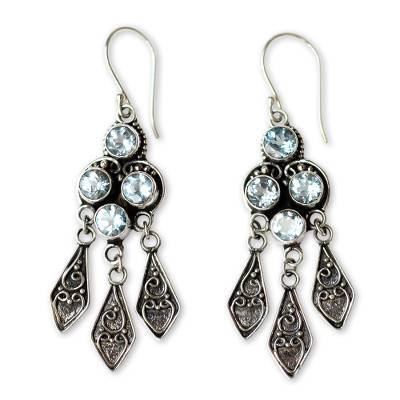 Ornate Blue Topaz and Sterling Silver Chandelier Earrings