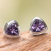 Amethyst stud earrings, 'Purple Trinity' - Artisan Crafted Amethyst and Sterling Silver Stud Earrings