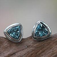 Blue topaz stud earrings, 'Sky Blue Trinity' - Classic Blue Topaz Stud Earrings Set in Sterling 925 Silver