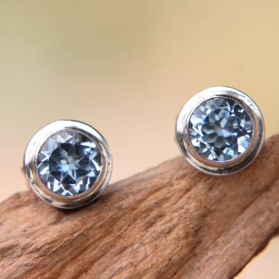 Blue topaz stud earrings, Blue Simplicity