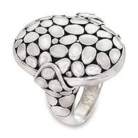 Sterling silver cocktail ring, 'Cobble' - Unique Women's Sterling Silver Cocktail Ring from Bali