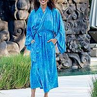 Batik robe, 'Misty Garden' - Women's Blue and Green Hand Crafted Batik Rayon Robe