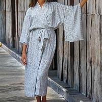 Rayon robe, 'Misty Arabesque' - Grey and White Screen Print Rayon Belted Kimono Style Robe