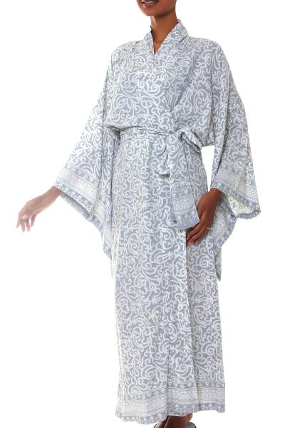 Grey and White Screen Print Rayon Belted Kimono Style Robe