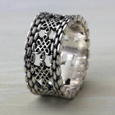 Lucky Knots on Sterling Silver Band Ring from Bali
