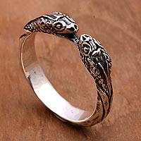 Sterling silver wrap ring, 'Romantic Vipers' - Sterling Silver Wrap Ring Snake Jewelry for Women