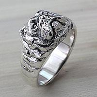 Men's sterling silver ring, 'Bulldog Courage'
