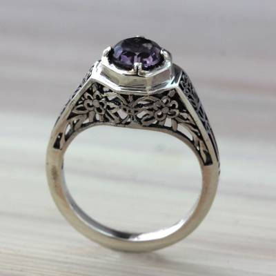 claddagh rings kay jewelers - Ornate Amethyst Solitaire Ring with Silver Floral Cutouts