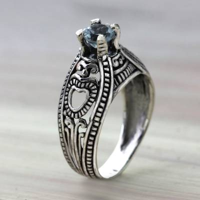 Balinese Blue Topaz Solitaire with Sterling Silver Cutouts