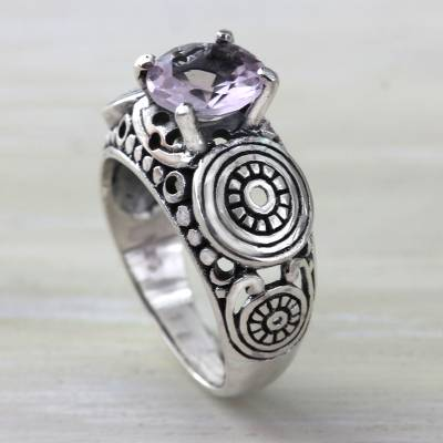 Balinese Artisan Crafted Silver and Amethyst Solitaire Ring