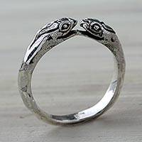 Sterling silver wrap ring, 'Kissing Vipers' - Snake Jewelry for Women Sterling Silver Wrap Ring