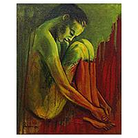 'The Heart is the Most Real' - Wistful Nude Painting in Red and Green