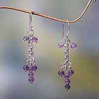 Amethyst chandelier earrings, 'Java Grapes' - Amethyst and Sterling Silver Chandelier Earrings from Bali