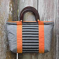 Cotton and mahogany handbag, 'Mataram Grey' - Hand Woven Cotton Handbag with Mahogany Handles