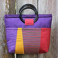 Cotton and mahogany handbag, 'Keraton Purple' - Hand Woven Cotton Handbag with Mahogany Handles