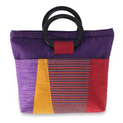 Hand Woven Cotton Handbag with Mahogany Handles
