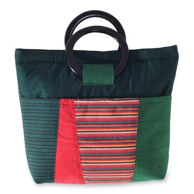 Multi Pocket Green Cotton Handbag with Mahogany Handles