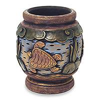 Decorative wood vase, 'Turtle Oasis' - Turtle Hand Carved and Painted Small Wood Decorative Vase