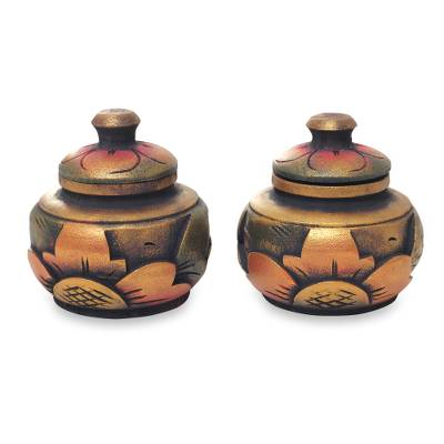 Decorative wood boxes, Guwang Treasure (pair)
