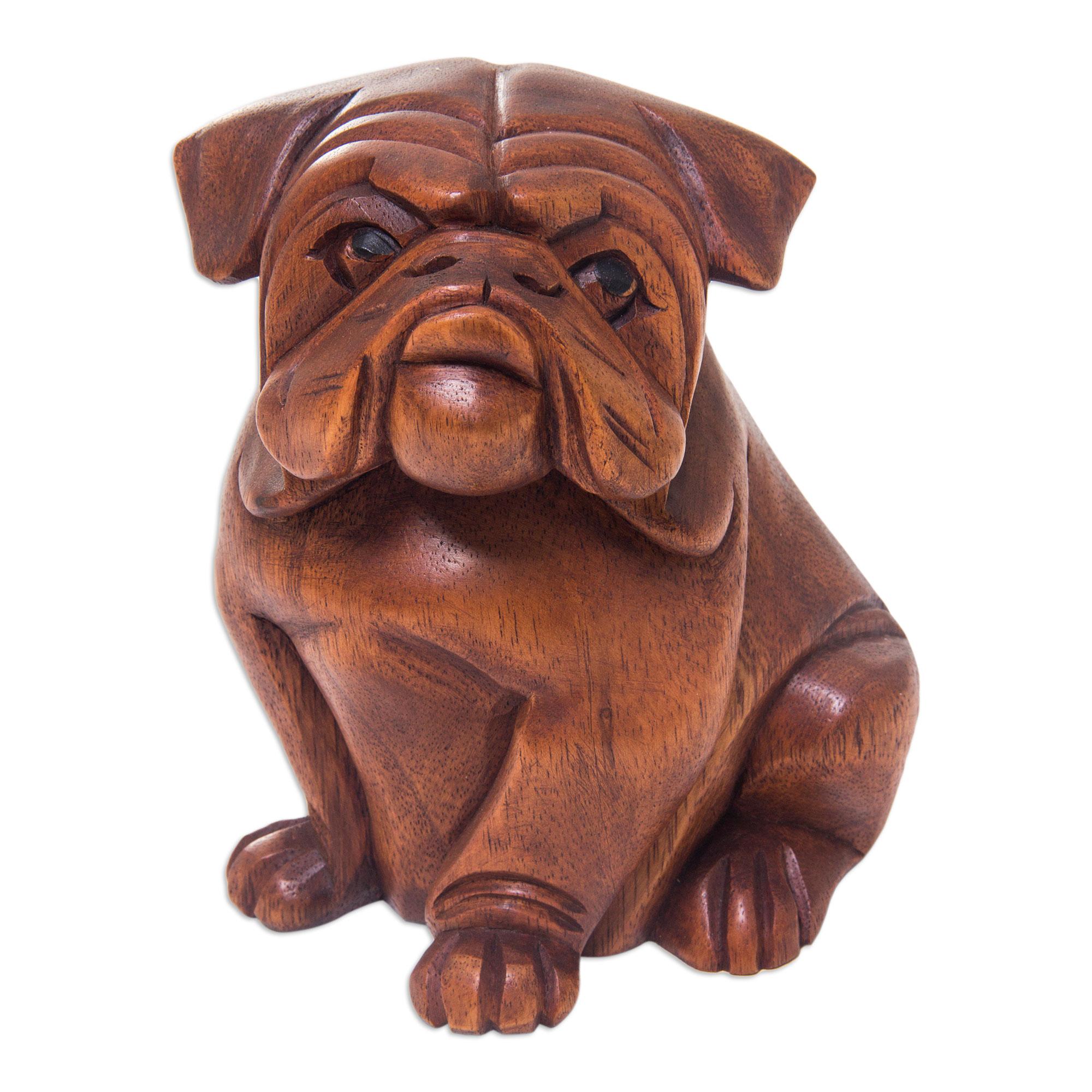 Unicef uk market hand carved wood bulldog puppy