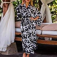 Long rayon robe, 'Moonlit Fern' - Silk Screened Black and White Long Women's Rayon Robe