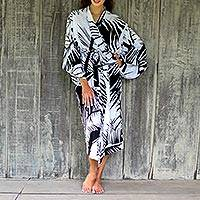 Long rayon robe, 'White Tiger' - Long Rayon Robe for Women with Black and White Print