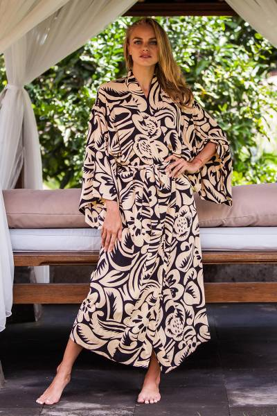Rayon robe, 'Sunset Shade' - Women's Ivory and Black Rayon Robe with Self Belt