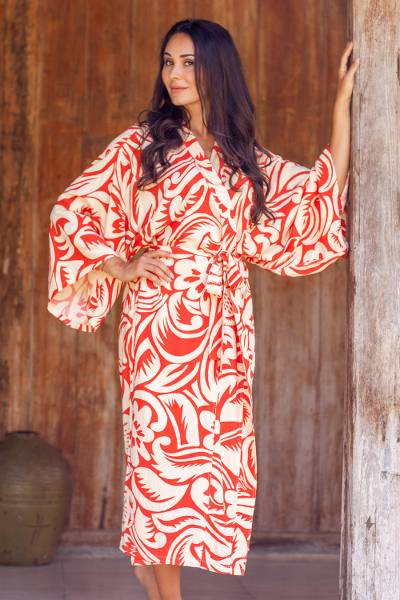 Rayon robe, 'Denpasar Orange' - Hand Crafted Deep Orange and Ivory Women's Rayon Robe