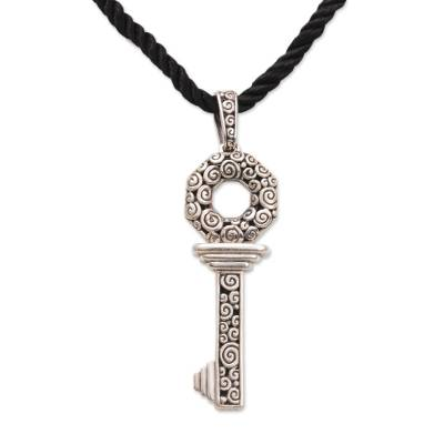 unique s key pendant necklace in sterling silver