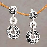 Sterling silver dangle earrings, 'Coins of the Kingdom' - Post Dangle Earrings in Sterling Silver from Bali