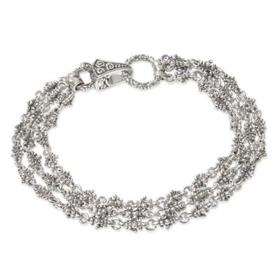 Unique Balinese Ornate Delicate Sterling Silver Link Bracelet