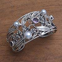 Amethyst and cultured pearl cuff bracelet, 'Temple Garden' - Floral 925 Silver Cuff Bracelet with Amethysts and Pearls