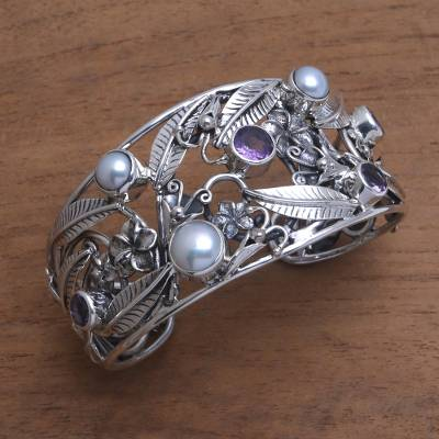 Amethyst and cultured pearl cuff bracelet, Temple Garden