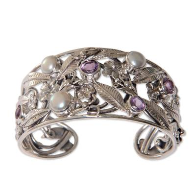 Floral 925 Silver Cuff Bracelet with Amethysts and Pearls