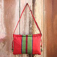 Cotton sling bag, 'Parangtritis Red' - Artisan Crafted Red Green Cotton Sling Shoulder Bag