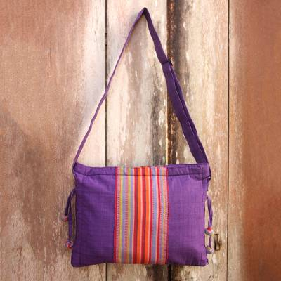 Cotton sling bag, 'Parangtritis Purple' - Artisan Crafted Purple Cotton Sling Bag with Pocket