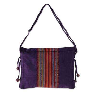 Artisan Crafted Purple Cotton Sling Bag with Pocket
