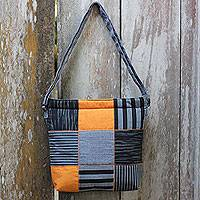 Cotton shoulder bag, 'Grey Joglo' - Hand Woven Grey Patchwork Shoulder Bag with Pocket