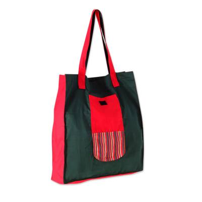 Green Red Handwoven Cotton Foldable Tote Shopping Bag