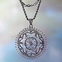 Sterling silver pendant necklace, 'Purnama' - Hand Made Silver Pendant Necklace with Lacy Motif