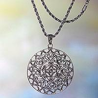 Sterling silver pendant necklace, 'Sang Surya' - Artisan Crafted Pendant Necklace in Antiqued Sterling Silver