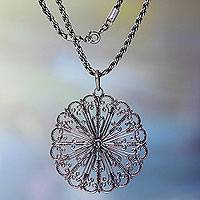Sterling silver pendant necklace, 'Fireworks' - Round Sterling Silver Pendant Necklace with oxidised Finish