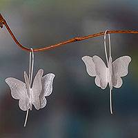 Sterling silver drop earrings, 'Silver Butterfly' - Brushed Sterling Silver Butterfly Drop Style Earrings