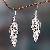 Sterling silver dangle earrings, 'White Feather' - Frosted Sterling Silver Dangle Earrings with Feather Theme